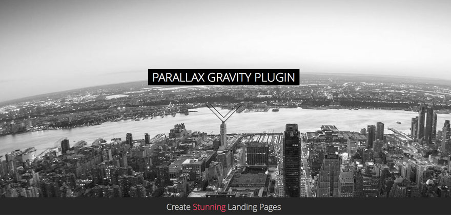 Parallax Gravity wordpress Landing page builder